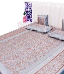 Buy gray embroidered silk bed-sheets bed-sheet online