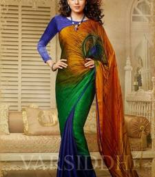 Buy multicolor printed jacquard saree with blouse other-actress-saree online