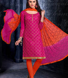 Buy Pink Chanderi embroidered unstitched salwar with dupatta dress-material online