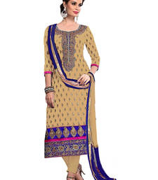 Buy cream chanderi embroidered semi_stitched salwar with dupatta eid-special-salwar-kameez online