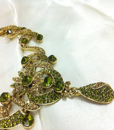 Buy Mehndi Green Diamond Like Fashion Jewelry Set Necklace online