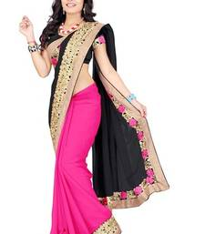 Buy black embroidered georget saree with blouse printed-saree online
