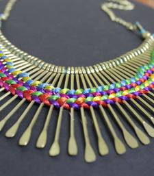 Buy Multicoloured spikes thread necklace Necklace online