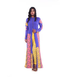 Buy Blue, pink and yellow embroidered Crepe stitched salwar readymade-suit online