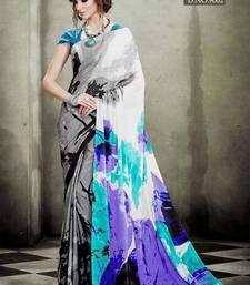 Buy Multicolor printed crepe silk saree with blouse. crepe-saree online