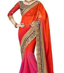 Buy Orange and Pink embroidered chiffon saree with blouse chiffon-saree online