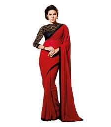 Buy red plain georgette saree with blouse ethnic-saree online