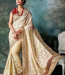 Buy white embroidered georgette saree with blouse bridal-saree online