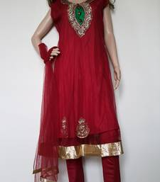 Buy Maroon net embroidered stitched salwar readymade-suit online