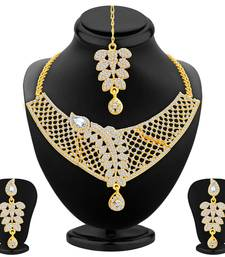 Buy Dazzling Gold Plated AD Necklace Set For Women necklace-set online