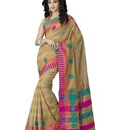 Buy Beige and Pink printed cotton saree with blouse cotton-saree online