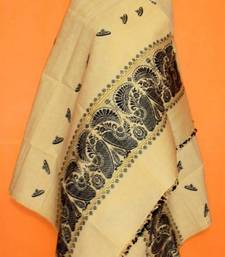 Pure Eri & Muga mix Silk Shawl from Assam-Black weaving with Guna work shop online
