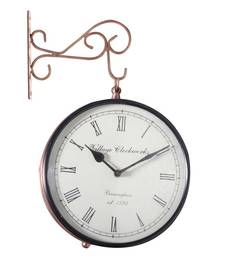 Buy Analog 20.3 cm Dia Wall Clock(Brown, With Glass) wall-clock online