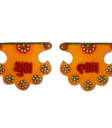 Buy Kundan Work Fan Shape Shubh Labh Door Hangings wall-art online