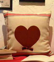 Buy Red heart off white cushion  pillow-cover online