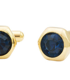 Buy Hexagon Blue Gold Plated Brass Cufflink Pair for Men cufflink online