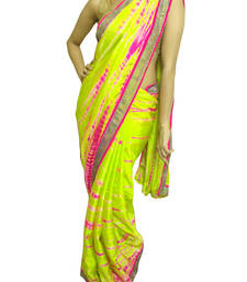 Buy Neon green and pink Pure Crepe Saree wedding-saree online