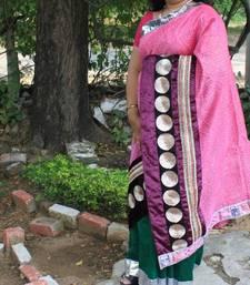Buy Pink Velvet Chanderi Saree velvet-saree online