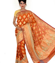 Buy Rust embroidered saree with blouse chanderi-saree online
