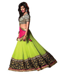 Buy Parrot Georgette Embroidered unstitched lehenga-choli lehenga-below-1000 online