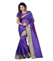 Buy Blue printed cotton_poly saree with blouse below-400 online