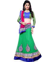 Buy Green Embroidered Net Lehenga Choli With  Blouse ethnic-lehenga online