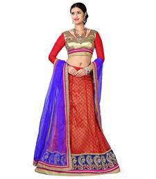 Buy Red Embroidered Net Lehenga Choli With  Blouse ethnic-lehenga online