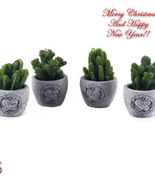 Buy Cute Little Plant Style Decorative Candles with Stand (set of 4) christmas-decoration online