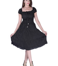 Buy Cotton Plain Black Color Tyre Dress other-apparel online