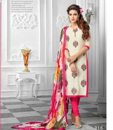 Buy White and pink Chanderi embroidered semi_stitched salwar with dupatta cotton-salwar-kameez online