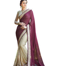 Buy Wine and Cream embroidered satin saree with blouse satin-saree online