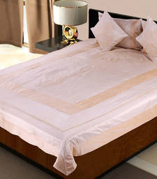 Buy 5 Piece Peach Color Silk Bedcover Cushion n Pillow Covers Set bed-sheet online