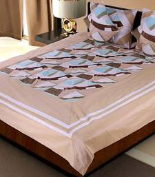 Buy 5 Piece Beige Color Soft Silk Bedlinen Cushion n Pillow Covers Set bed-sheet online