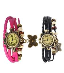 Buy pink black Designeer Combo Leather Watch Watch gifts-for-sister online