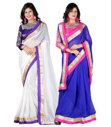 Buy White and Navi Blue embroidered chiffon saree with blouse sarees-combo-sari online