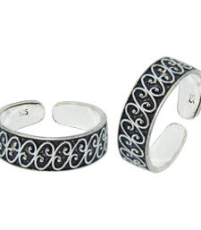 Buy 925 Sterling Silver Oxidised Chic Curvy Toe Rings and  Adjustable Si toe-ring online