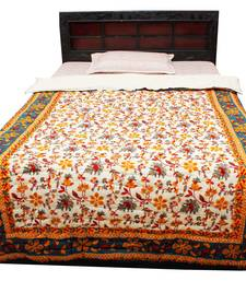 Buy Tradional Floral Gold Print Single Bed Razai - 202 quilt online