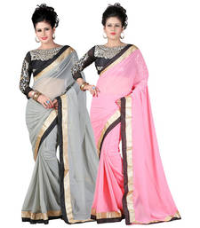 Buy Gray and Pink embroidered chiffon saree with blouse sarees-combo-sari online