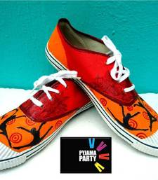Buy Funky Feet-Dance makes me happiiee-orange and red Shoe online