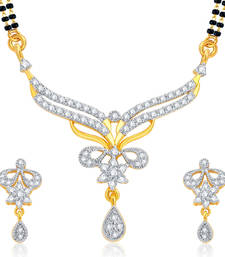 Buy Finely Gold and Rhodium Plated CZ Mangalsutra Set For Women mangalsutra online