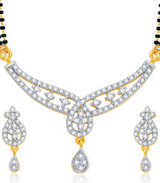 Buy Astonishing Gold and Rhodium Plated CZ Mangalsutra Set For Women mangalsutra online