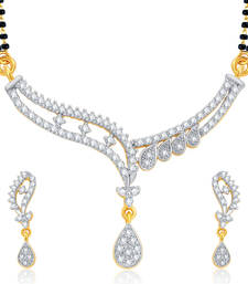 Buy Divine Gold and Rhodium Plated CZ Mangalsutra Set For Women mangalsutra online