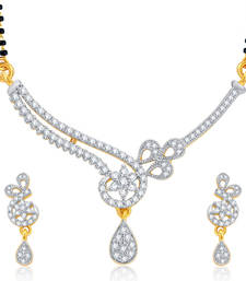 Buy Cluster Gold and Rhodium Plated CZ Mangalsutra Set For Women mangalsutra online