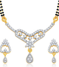 Buy Fancy Gold and Rhodium Plated CZ Mangalsutra Set For Women mangalsutra online