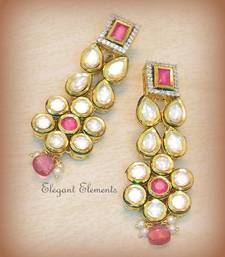 Buy Dazzling cut kundan and a.d. earring Earring online