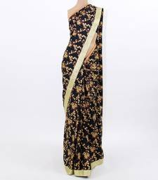 Buy Black Floral Silk silk-saree online