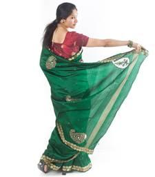 Buy Green Cut-work silk-saree online