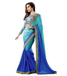 Buy Designer Embroidered Blue color Faux Georgette saree georgette-saree online