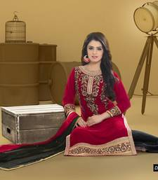 Buy Maroon embroidered georgette semi stitched salwar with dupatta party-wear-salwar-kameez online
