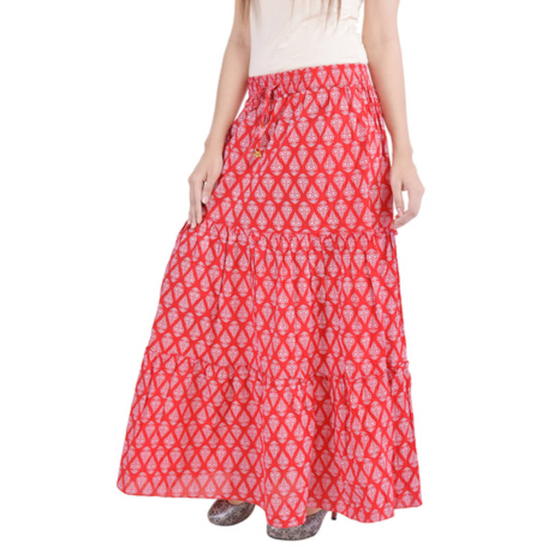 Buy Red Jaipuri Printed Cotton Long Skirt Online